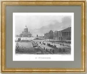 Петербург. Исаакиевский мост зимой. 1855г. Старинная гравюра - антикварный подарок