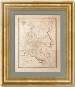 Россия в Европе. 1834г. Старинная карта. Лист 56х42. Малте-Брун