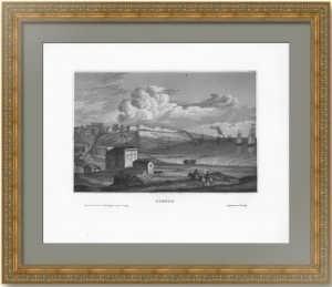 Одесса. Вид города. 1837г. Старинная гравюра - антикварный подарок