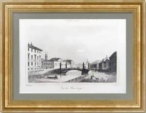 Красный мост через Мойку в Петербурге. 1838г. Антикварная гравюра