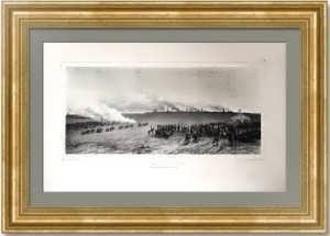 Маневры под Вознесенском в 1837 году. Раффе. 1844г. Старинная литография