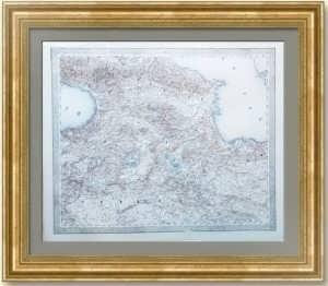 Кавказ. Старинная карта. 1847г. Лист 44х53. Джозеф фон Шеда. Редкость!