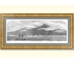 Кронштадт. Панорамный вид. 1854г. Антикварная гравюра