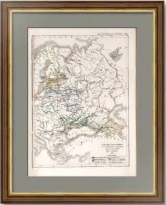 Карта истории территориального роста России. 1854г. Антикварная гравюра