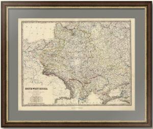 Юго-запад России и Королевство Польша до раздела в 1772 году. 1861г. Старинная карта