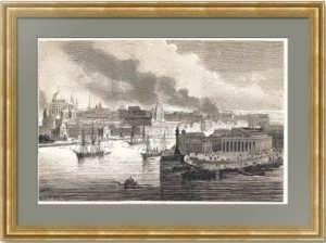 Петербург. Вид на Неву, Биржу и Адмиралтейство. Пожары. 1862г. Старинная гравюра