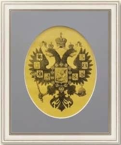 Герб Российской империи. 1901г. Старинная гравюра на дереве