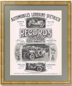 Лорен-Дитрих. Рекорды скорости. Москва – Санкт-Петербург. 1907г. Оригинальный рекламный плакат