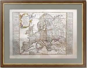 Антикварная карта Европы с Россией. 1788г. Лист 56х80! Представительский VIP подарок