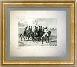 Казачий патруль. Тамань. 1844г. Раффе. Старинная литография