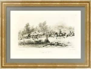 Русский конвой на привале близ Ялты. 1844г. Раффе. Старинная литография