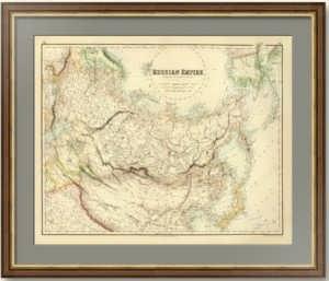 Российская империя по Киперту. 1872г. Старинная карта России с Аляской