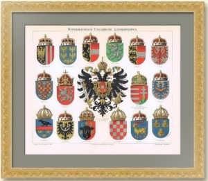 Гербы Австро-Венгерии. 1896г. Штрёль. Старинная литография