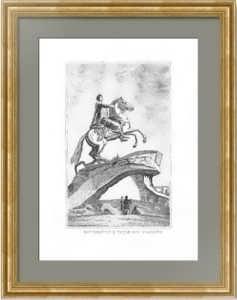 Петербург. Памятник Петру I. 1835г. Фальконе. Старинная гравюра