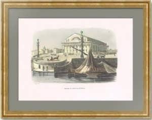 Биржа в Петербурге. 1843г. Старинная гравюра, акварель