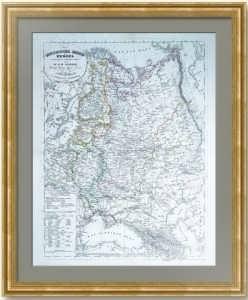 Европейская Россия. 1844г. Старинная оригинальная карта. Лист 50х42