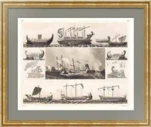 История флота. 1849г. Корабли времён Римской империи. Старинная гравюра