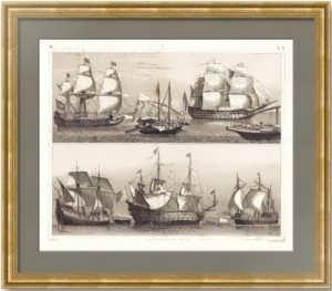 История флота. 1849г. Корабли XVI и XVII веков. Старинная гравюра