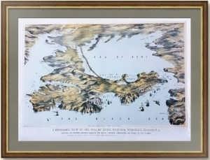 Крым. Панорамный вид. 1855г. Старинная литография. Лист 56x76! Музейный экземпляр