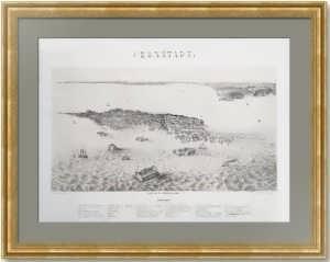 Кронштадт и форты. 1855г. Старинная литография. Лист 40х57