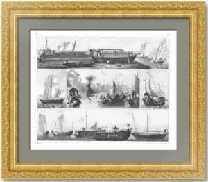 История флота. 1857г. Кораблестроение востока. Старинная гравюра