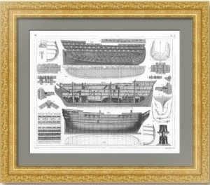 История флота. 1857г. Линейный парусный корабль XVIII века. Старинная гравюра