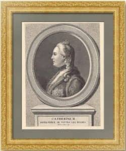Екатерина II, портрет. 1890г. Ротари/Хюйот. Старинная гравюра