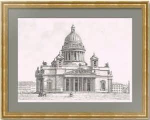 Петербург. Исаакиевский собор. 1890г. Старинная гравюра.