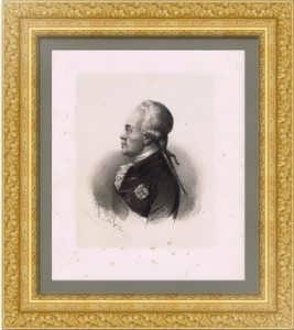 Павел I, император. Портрет. 1850г. (ок.) Биллойн. Старинная литография