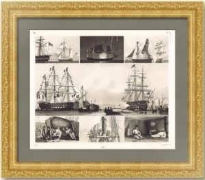 История флота. 1857г. Будни морского флота.  Старинная гравюра