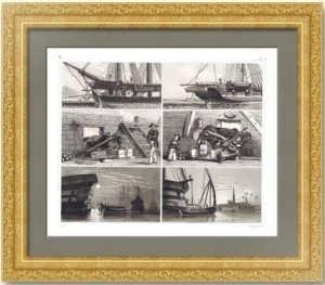 История флота. 1857г. Корабль: устройство, артиллерия и служба. Старинная гравюра