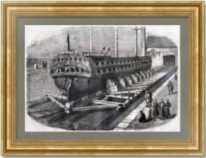 Кронштадт. Док и стапель - строительство корабля. 1859г. Старинная гравюра