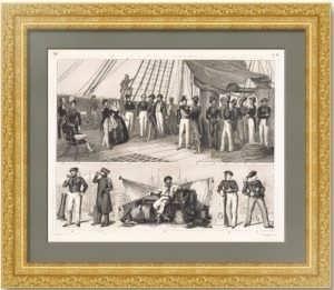 История флота. 1857г. Морская униформа. Старинная гравюра