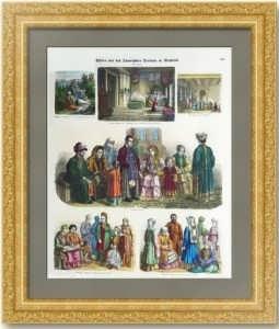 Татары - быт и костюмы. 1864г. Старинная гравюра, акварель