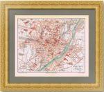 Мюнхен. План города. 1886г. Старинная литография.