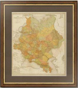 Карта Европейской России. 1871г. Ильин. Антикварная оригинальная карта.