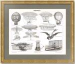Воздухоплавание I. 1896г. Старинная гравюра. Издательство «Просвещение»