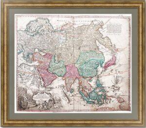 Азия и Российская империя. 1716г. Редкая старинная карта. Первое состояние