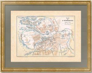 Санкт-Петербург. 1890г. Старинный план города. Франция