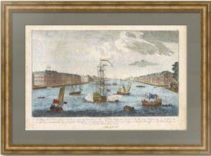 Санкт-Петербург. Вид на Неву к востоку. 1794г. Старинная гравюра