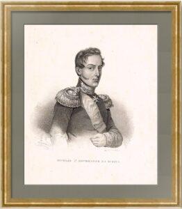 Николай I. Прижизненный портрет. 1843г. Антикварная литография