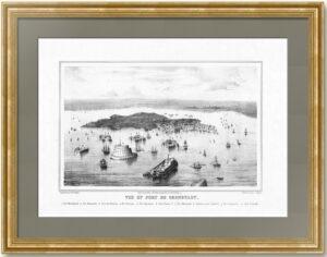 Кронштадт - порт и форты. 1855г. Старинная литография