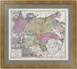 Россия и Тартария. 1740г. Лоттер. Антикварная карта, музейный экземпляр