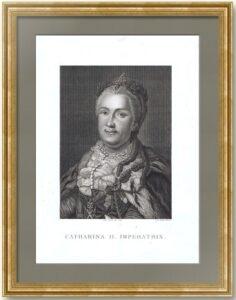 Екатерина II. Портрет. 1820г. Рослин/Каронни. Старинная гравюра. Музейный экземпляр