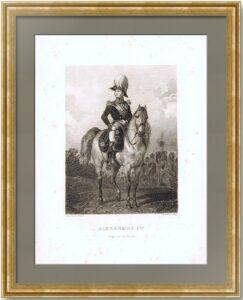 Александр I, Император России. 1845г. Старинный гравированный портрет на коне