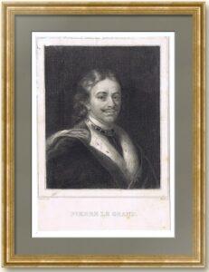 Пётр I Великий. Портрет. 1847г. Беннер/Dupont/Мекку. Антикварная гравюра.