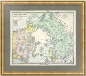 Северный полюс и Российская империя. 1875г. Старинная оригинальная карта