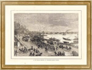 Петербург. Новая деревня. 1878г. Старинная гравюра - антикварный подарок