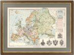 Европа. Старинная политическая карта. 1882г. Антикварный подарок