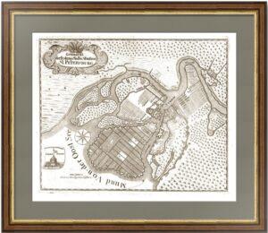 Санкт-Петербург. 1744г. Антикварный план города. Редкость! Музейный экземпляр